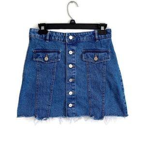 Zara Trafaluc denim button down cutoff skirt